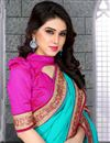 photo of Sky Blue Party Wear Saree with Border-280