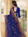 photo of Georgette Fabric Embroidered Designer Saree In Blue Color