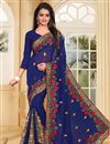 image of Blue Color Embroidered Designer Saree In Georgette Fabric