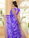 photo of Blue Color Embroidered Designer Saree In Satin And Chiffon Fabric