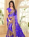 image of Designer Embroidered Blue Color Saree In Satin And Chiffon Fabric