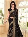 image of Black Color Designer Embroidered Saree In Georgette Fabric