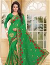 image of Georgette Fabric Designer Saree In Green Color With Embroidery