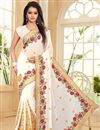 image of Embroidered White Color Designer Georgette Fabric Saree