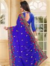 photo of Blue Color Embroidered Party Wear Designer Saree In Georgette Fabric
