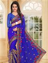 image of Blue Color Embroidered Party Wear Designer Saree In Georgette Fabric