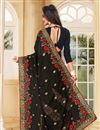 photo of Black Color Designer Embroidered Saree In Georgette Fabric