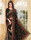 image of Black Color Designer Embroidered Saree In Georgette Fabric