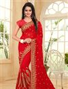 image of Designer Red Color Saree In Georgette Fabric With Embroidery