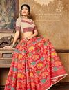 photo of Fancy Banarasi Silk Style Red Color Traditional Pooja Function Saree