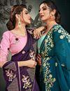 photo of Art Silk Fabric Fancy Puja Wear Purple Color Embroidery Work Saree