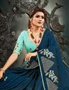 photo of Art Silk Fabric Function Wear Fancy Teal Color Embroidery Work Saree