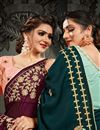 photo of Festive Wear Satin Fabric Fancy Embroidery Work Saree In Wine Color