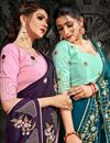 photo of Teal Color Party Wear Satin Fabric Fancy Embroidery Work Saree