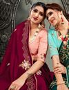 photo of Maroon Color Reception Wear Fancy Satin Fabric Embroidery Work Saree