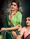 photo of Dark Green Color Function Wear Satin Fabric Embroidery Work Saree