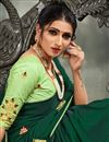 photo of Embroidery Work Sangeet Wear Stylish Saree In Dark Green Color Satin Silk Fabric