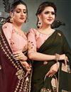 photo of Satin Silk Fabric Embroidery Work Wedding Wear Designer Saree In Mehendi Green Color