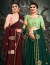 photo of Satin Silk Fabric Function Wear Maroon Color Embroidery Work Saree