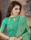 photo of Fancy Festive Wear Art Silk Fabric Cyan Weaving Work Saree