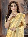 photo of Yellow Fancy Art Silk Fabric Festive Wear Weaving Work Saree