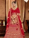 image of Embroidered Red Color Bridal Lehenga In Art Silk Fabric with Designer Choli