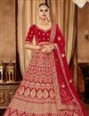 image of Red Color Art Silk Fabric Reception Wear Lehenga Choli With Embroidery Work