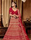 image of Embroidered Red Color Art Silk Festive Wear Lehenga With Ambroidery