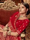 photo of Embroidery Work On Red Color Art Silk Occasion Wear Lehenga With