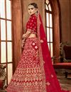 photo of Embroidery Designs On Art Silk Red Color Festive Wear Lehenga With