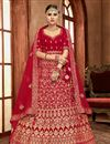 image of Embroidery Designs On Art Silk Red Color Festive Wear Lehenga With