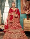 image of Embroidered Red Color Bridal Lehenga In Velvet Fabric With Designer Choli