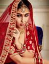 photo of Velvet Fabric Red Color Sangeet Wear 3 Piece Embroidered Lehenga With Enigmatic Blouse
