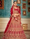 image of Velvet Fabric Red Color Sangeet Wear 3 Piece Embroidered Lehenga With Enigmatic Blouse