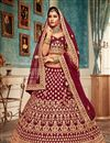 image of Maroon Color Velvet Fabric Reception Wear Lehenga Choli With Embroidery Work