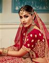 photo of Embroidered Red Color Bridal Lehenga In Velvet Fabric With Designer Choli