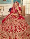 photo of Red Color Velvet Fabric Reception Wear Lehenga Choli With Embroidery Work