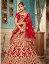 image of Red Color Velvet Fabric Reception Wear Lehenga Choli With Embroidery Work