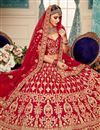 photo of Embroidery Work On Wedding Wear Bridal Lehenga In Red Color Velvet Fabric With Blouse