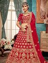 image of Embroidery Work On Wedding Wear Bridal Lehenga In Red Color Velvet Fabric With Blouse