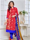 image of Red Party Wear Chanderi Salwar Kameez-13276