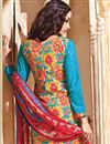 photo of Sky Blue Straight Cut Designer Cotton Salwar Kamee