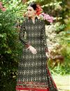 image of Black Cotton Palazzo Style Pakistani Salwar Suit