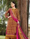 image of Maroon Palazzo Style Cotton Pakistani Salwar Suit