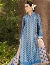 photo of Blue-Cream Cotton Pakistani Style Palazzo Suit