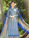 image of Blue-Cream Cotton Pakistani Style Palazzo Suit