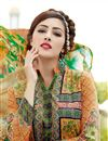 photo of Printed Party Wear Cotton Salwar Kameez in Green-Orange Color