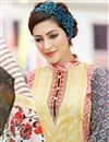 photo of Cream Color Fancy Print Straight Cut Cotton Salwar Kameez