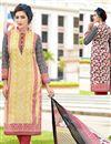 image of Cream Color Fancy Print Straight Cut Cotton Salwar Kameez