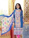 image of Blue Color Printed Party Wear Cotton Dress Material